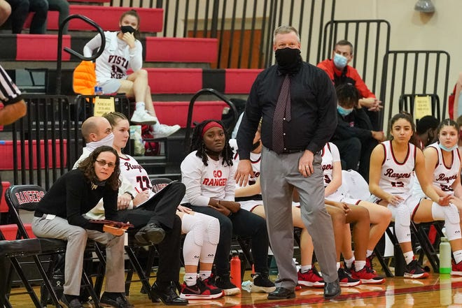 Vista Ridge head basketball coach Keith Allen watches his team in play action against Westwood last week. The Rangers suffered their first loss of the season, 40-38, but are still within a game of the District 25-6A title and the top playoff seed.