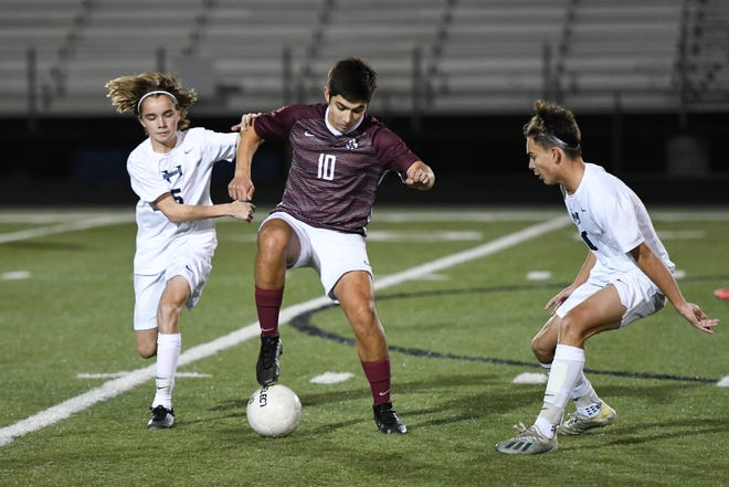 Bastrop sophomore midfielder James Ramon, center, had a hat trick to lead the Bears to a 3-2 win over Connally last week.