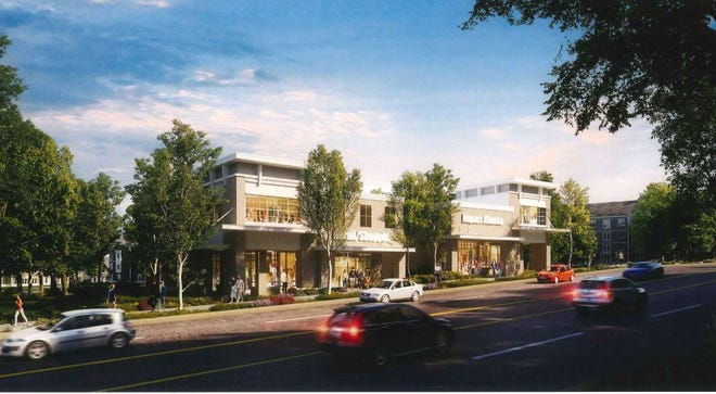 The project proposes commercial buildings along the frontage of Lexington Road.