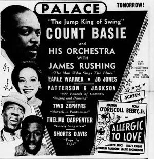 Count Basie headlined Akron's Palace Theater in 1944.