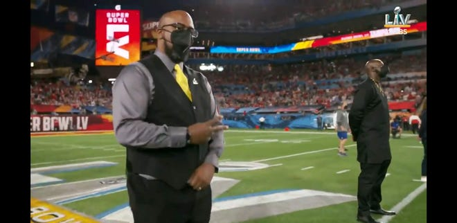 James Martin, a Marine Corps veteran who has streamed Aliquippa games for those unable to attend during the pandemic, was recognized as an honorary captain before the coin toss at Super Bowl LV for his work with the Wounded Warrior Project.