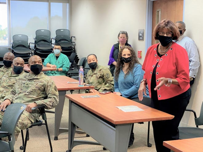 Leesville Council Woman Willie Mae Kennedy attended the Bayne-Jones Army Nurse Corps' 120th Anniversary celebration at the Joint Readiness Center and Fort Polk, La., Feb. 2. Kennedy began her journey as an Army Nurse with Bayne-Jones Army Community Hospital as a certified nursing assistant in 1966; later a becoming licensed practical nurse in 1976. She shared with the current nursing staff that she worked in the emergency department, family practice and preventive medicine at BJACH. Kennedy dedicated 43 years of her life to nursing our Soldiers and Families at Fort Polk.
