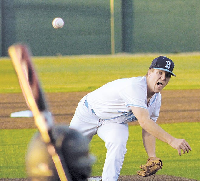 Preston Berg unleashes a throw for Bartlesville High School during varsity baseball play in 2020.