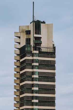 """Frank Lloyd Wright's Price Tower is known as  """"The Tree That Escaped the Crowded Forest""""."""