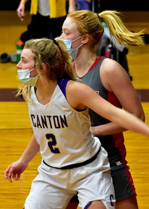 Katie Smith of Canton applies the defensive pressure. Smith would lead her Lady Giant team with 11 points on a night where Canton would fall 45-32 to the Morton Lady Potters.