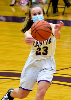 Canton's Ella Wheeler makes a pass during the second half of Canton's 45-32 loss to the Lady Potters of Morton. Wheeler would also chip in five points for the Canton squad.