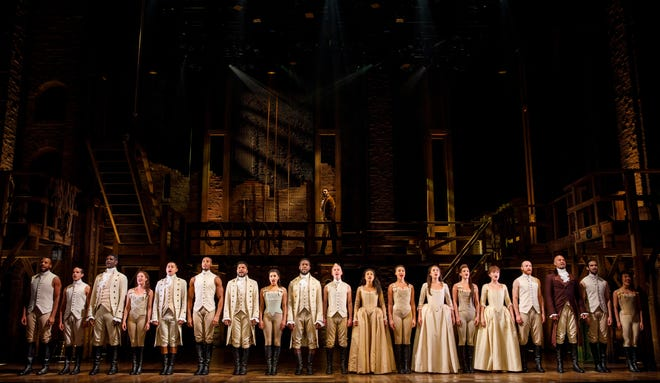 """The cast of """"Hamilton."""" The show will return to Columbus Sept. 28 to Oct. 17."""