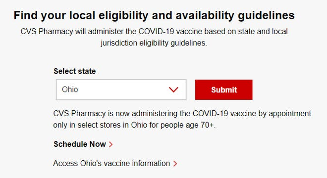 The vaccination website of CVS was not accepting appointment inquiries from Ohioans age 65 to 69 despite the state making that age group eligible for shots.