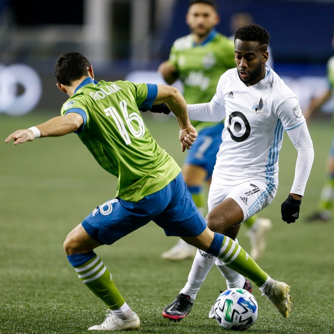 Kevin Molino, right, was one of the most efficient players in Major League Soccer last season, averaging a goal or an assist every 97-plus minutes for Minnesota United.