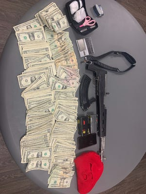 Items seized after a high-speed vehicle chase Friday.