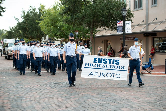 The Eustis High School AF JROTC marches in the Vet Fest of Lake County parade on Sunday. [Cindy Peterson/Correspondent]