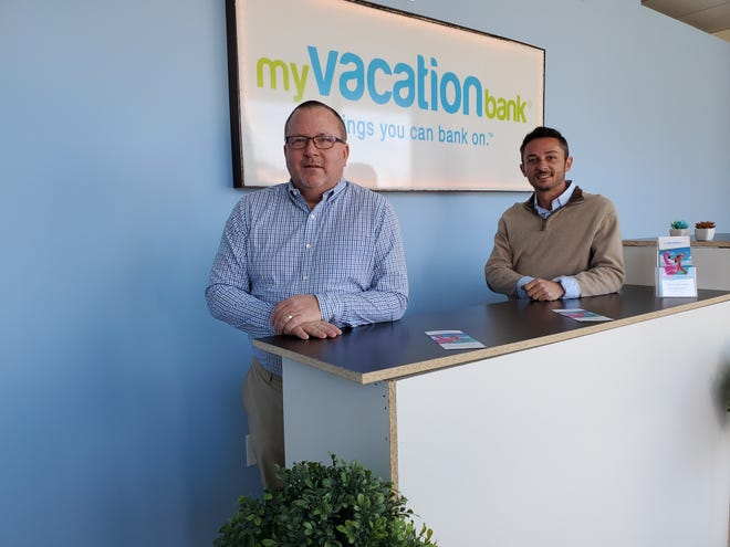 Barry Yokeley, a former Davidson County resident, is the owner of the first My Vacation Bank franchise in the United States that will open Monday in the Welcome community in Davidson County. Lavelle Stalvey (right) is the founder and CEO of MVB with plans to open other franchises within a month or two in Florida, Alabama and Georgia.