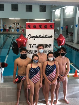 Central Davidson recently honored its senior swimmers. Pictured (from left) are Derrick Lanham, Darbeigh Ware, Sean Smith, Maddie Bowers, and Hunter Smith. Sean Smith won the 1-A/2-A Central Regional 500 meters championship on Saturday. [Contributed photo]