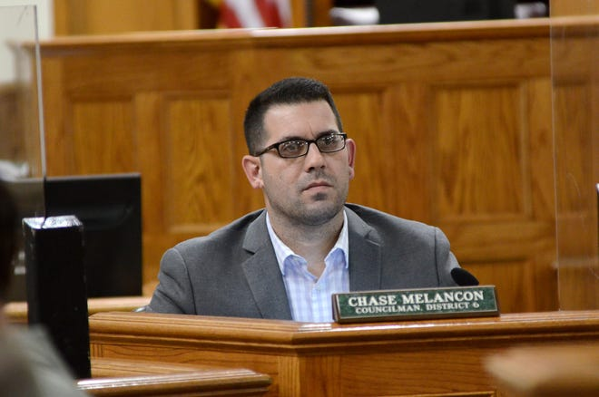 The Ascension Parish Council's District 6 representative Chase Melancon is shown during a November meeting in Donaldsonville. Last week, Melancon suggested a three-step system to determine the appointment of a new registrar of voters.