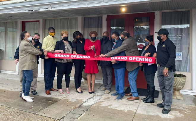 Several officials joined new Justice of the Peace Tamiko Francis Garrison for a ribbon-cutting ceremony Feb. 6 in Donaldsonville.