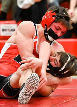 Honesdale's Braden McLaughlin has his opponent right where he wants him during recent Lackawanna League Division II wrestling action. McLaughlin is off to a stellar start this season with a perfect 4-0 record and three pins.