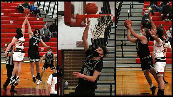 Delaware Valley's Aiden Oliver (1) takes the tipoff vs Honesdale; Mike Leonardo (25) makes a lay-up after a steal, and Lukas Shutz (42) drives in for a bucket. Following their win over the Hornets on Friday, the Warriors went on to claim a 51-37 victory against Carbondale the next night.