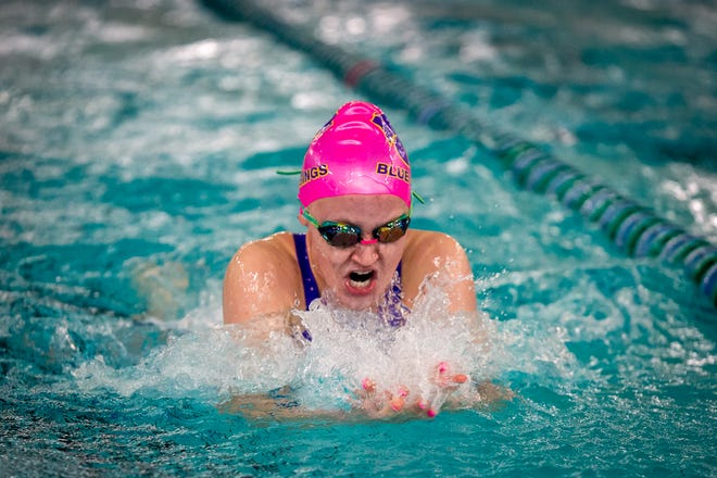 Blue Springs' Annemarie Rehbein swims to a victory in the 100-yard breaststroke in the Suburban Big Eight Championships Saturday at Blue Springs South. Rehbein also took third in the 200 IM.