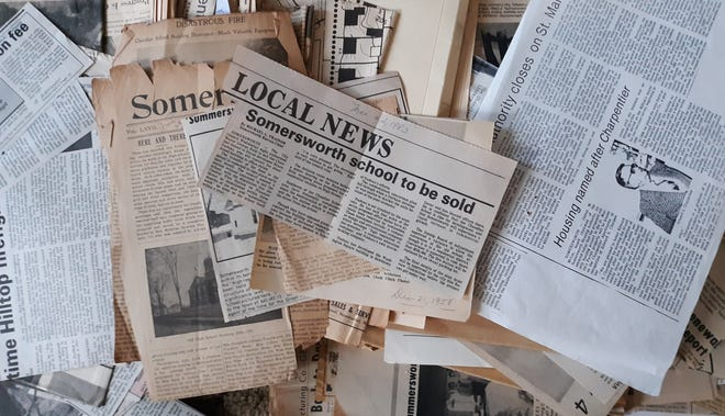Somersworth Free Press Newspaper.jpg. A handful of the newspaper clippings that are archived at the Summersworth Historical Museum on Main Street.