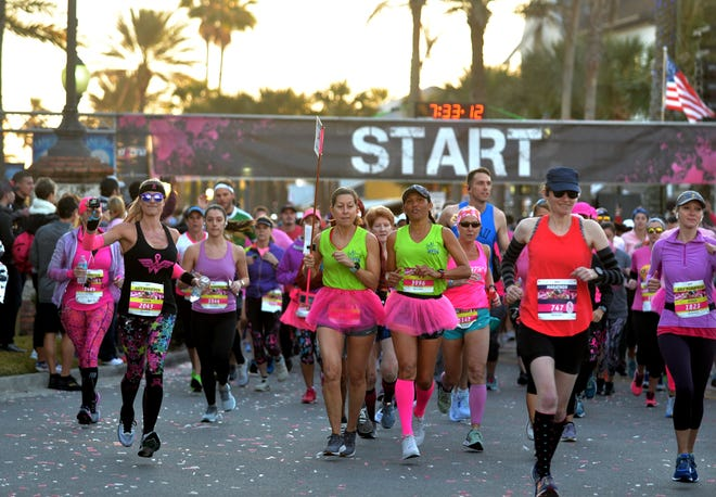 A sea of pink runners started the 26.2 with Donna marathon and half marathon on February 9, 2020.