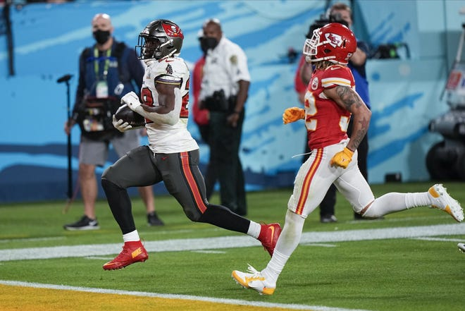 Tampa Bay Buccaneers running back Leonard Fournette runs for a 27-yard touchdown against the Kansas City Chiefs in Super Bowl LV. The former Jaguar eventually found redemption with his new team and is now a free agent.
