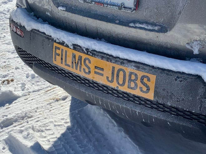 Crews from a Hollywood production company set up in the Mount Wachusett Community College parking lot are preparing to shoot scenes at nearby Camp Collier this week.