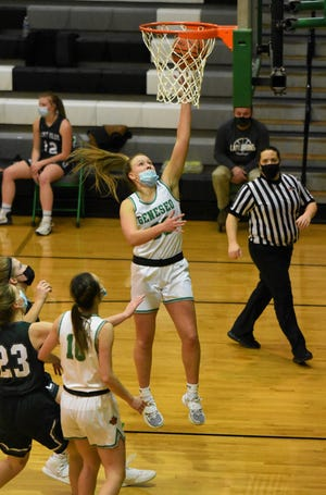 Geneseo High School's Kammie Ludwig led the Lady Leafs in scoring in the Feb. 5 match up against St. Bede of Peru. Ludwig totaled 27 points in the game. Also in the photo is No. 10 Ali Rapps
