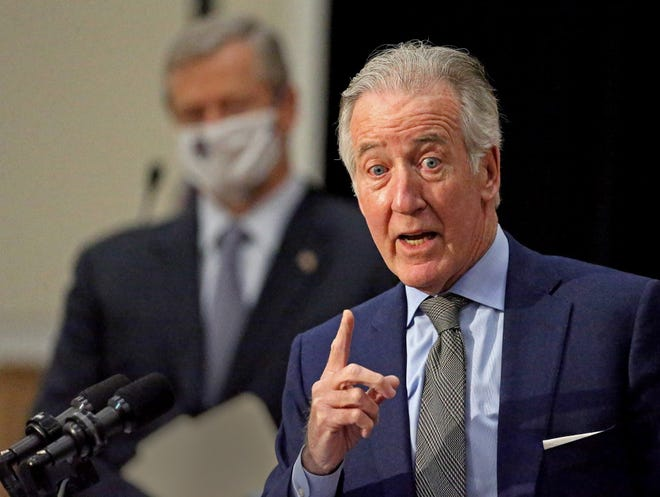 Speaking alongside the governor at a State House press conference Monday, Fev. 8, U.S. House Ways and Means Chairman Richard Neal (D-Springfield) said his committee will work this week to write legislation to enact $941 billion worth of President Biden's proposals. [Matt Stone/Boston Herald/Pool]