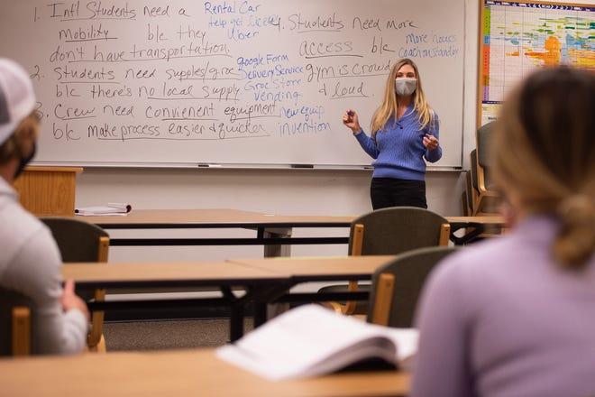 Debbie McAllister teaches an in-person entrepreneurship class Thursday at Hesston College.
