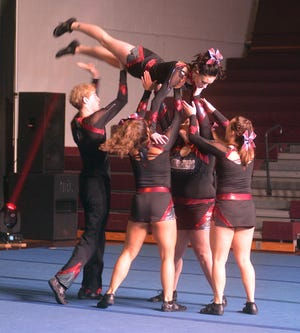 The Bethel College competitive cheer team will be seeking its third KCAC title Feb. 19 in Lindsborg.