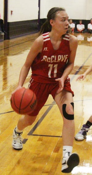McClave High School's Anna Beckett makes a move to the basket against Cheraw last season.