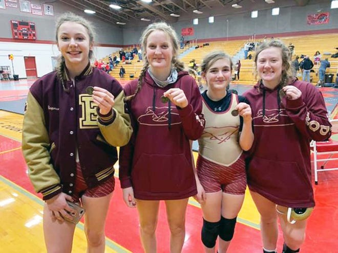 From left to right: District champions Olivia Chapman and Anmarie Dillon, Adysson Gerber and Mackenzie Blankenship all advanced to sectionals for Eldon after the District 4 Tournament in Mexico on February 6. Dillon became the first district champion in program history.