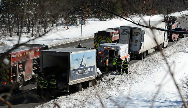 Emergency personnel responded to the scene of an accident involving two trucks in the southbound lanes of Interstate 495 in Marlborough, just past the Forest Street bridge, Feb. 8, 2021.