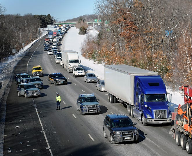 Traffic was backed up for more than a mile southbound on Interstate 495 in Marlborough, due to an accident involving two trucks just past the Forest Street bridge, Feb. 8, 2021.