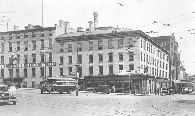 "The Bagg's Hotel, at John and Main streets in Utica, was built between 1812 and 1815 by Moses Bagg Jr. About 120 years later – in 1932 – it was razed. In its time it played host to many distinguished persons. One of the first was Thomas Moore, famed Irish poet, who looked out his window at the nearby Mohawk River and wrote: ""From rise of day to set of sun, I've seen the mighty Mohawk run."""