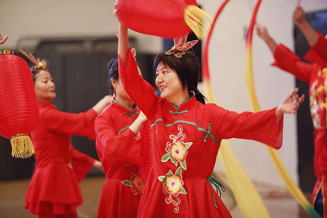 A Chinese dance group from Boston performs at the Lunar New Year celebration held Sunday, Feb. 2, 2020 in North Quincy.
