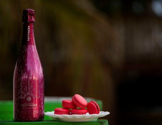 Taittinger Champagne Nocturne Rose City Lights, available at Hamptons Palm Beach, can be paired with raspberry macarons from Patrick Leze in Palm Beach.