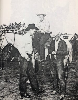 "Ben ""Son"" Johnson Jr., a champion rodeo cowboy and movie actor, is shown here at left. Also pictured are rodeo champions John Bowman and Jim Snively."