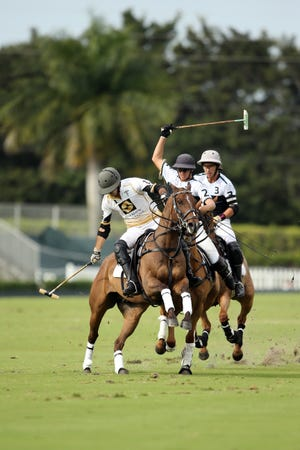Costi Caset, Joaquin Panelo and Tolito Ocampo (from left) compete in Sunday's Ylvisaker Cup at International Polo Club Palm Beach.