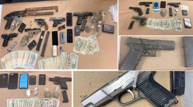 In this series of photos, Petersburg Police display the 13 weapons, currency and illegal narcotics seized in the latest in its 'Operation Safe Streets' program Sunday, Feb. 7, 2021.