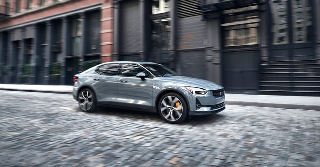 The 2021 Polestar 2 is something of a dragster, with a zero to 60 miles an hour acceleration time, according to the manufacturer, of 4.45 seconds and a top speed of 125.