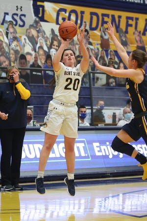 Kent State sophomore guard Clare Kelly shoots a 3-pointer during Monday afternoon's game at the M.A.C. Center. Kelly scored a career-high 27 points in the Flashes' overtime victory.