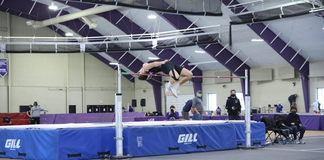 Mount Union's Tanner Slack won the high jump at the Ohio Athletic Conference Indoor Track & Field championships Saturday.