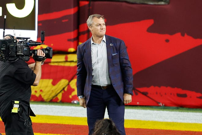Pro Football Hall of Fame Class of 2021 inductee John Lynch is introduced during the first quarter of Super Bowl 55 between the Chiefs and Buccaneers, Feb. 7, 2020, in Tampa, Fla. (Kim Klement-USA TODAY Sports)