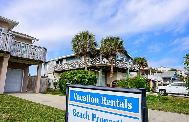 A sign in front of a house on Atlantic View road in Butler Beach, south of St. Augustine, advertises the property as a vacation rental on Feb. 8.
