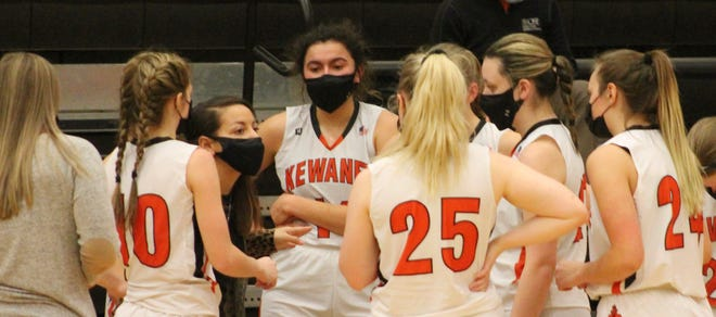 Kewanee girls basketball coach Jessica Shipley calls a timeout to install a full court press, which led to a 37-34 victory over Galva on Friday night at Brockman Gym.