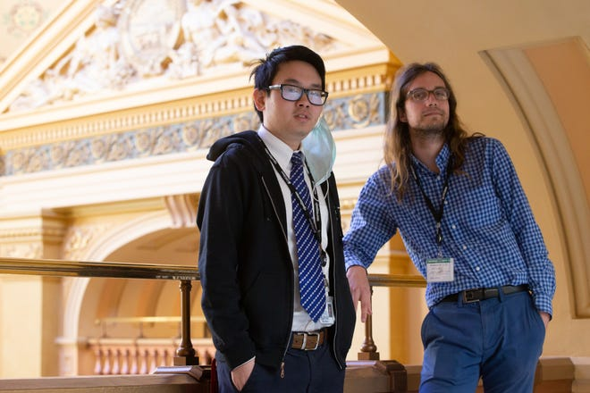 Topeka Capital-Journal Statehouse reporters Titus Wu, left, and Andrew Bahl host the podcast Chillin' In The Statehouse.