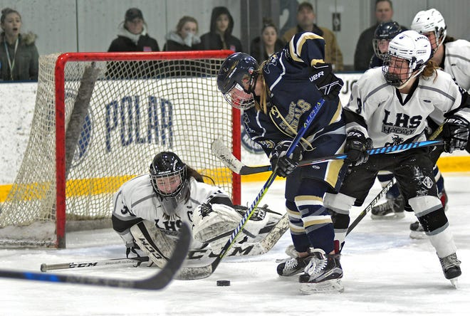 Shrewsbury's Kaci Ryder, center, has been putting pressure on opposing goaltenders throughout her high school career.