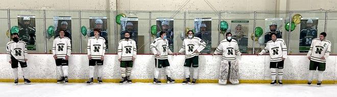 Nashoba boys hockey seniors were honored last Saturday (Feb. 6) for senior night (from left) Ian Cannaughton, Henry gerecke, Nevan McNamara, Josh Kerble, Danny Lemanski (Clinton), Ben Laplante, Blake Winsmann (goalie), Jack Wannamaker and Andrew Matthews.