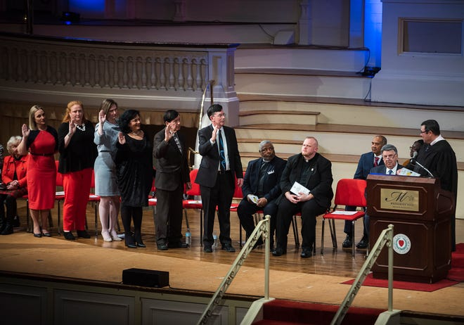 Members of the Worcester School Committee during the city's inaugural exercises at Mechanics Hall in January last year.